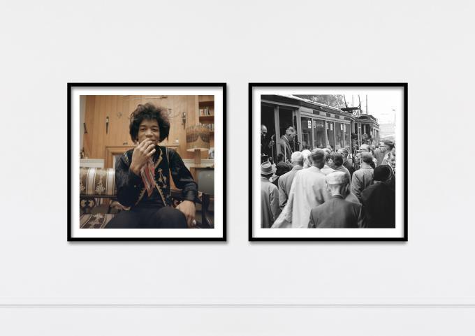 Jimi Hendrix en spitsuur in de Amsterdamse tram, twee beelden uit de ANP fotowinkel die onder andere te koop zijn via de NRC Webwinkel.
