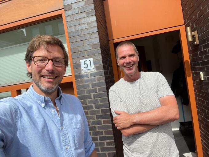 Bart Maat en Olaf Kraak na de opname van de podcast.