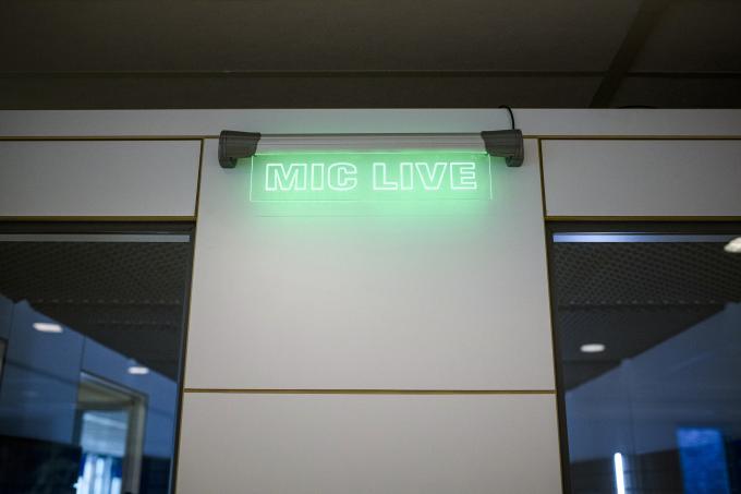 De radiocel op de redactie van het ANP in Den Haag. Foto: Kees van de Veen