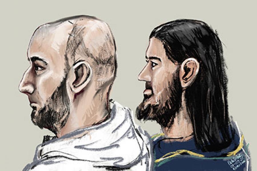 Rechtbanktekening van twee terrorismeverdachten.