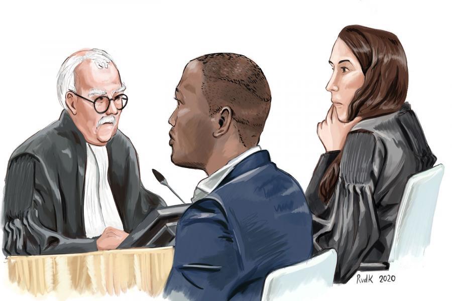 Rechtbanktekening van Courage
