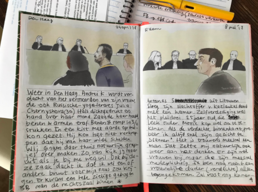 Aantekeningen van rechtbanktekenaar Theresa Hartgers