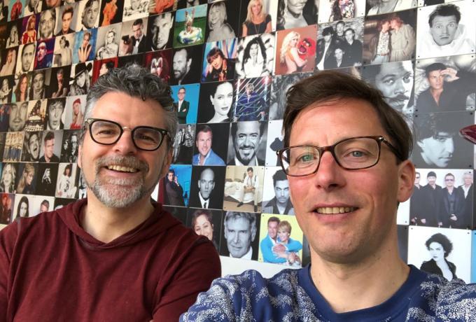 William Rutten en Bart Maat tijdens de opname van de podcast in de studio van William.